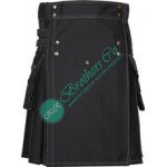 Active Men Black Modern Contrast Thread Stitched Sports Games Utility Kilt