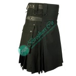 Black Adjustable Leather Straps Kilt