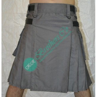 Grey Adjustable Leather Straps Kilt