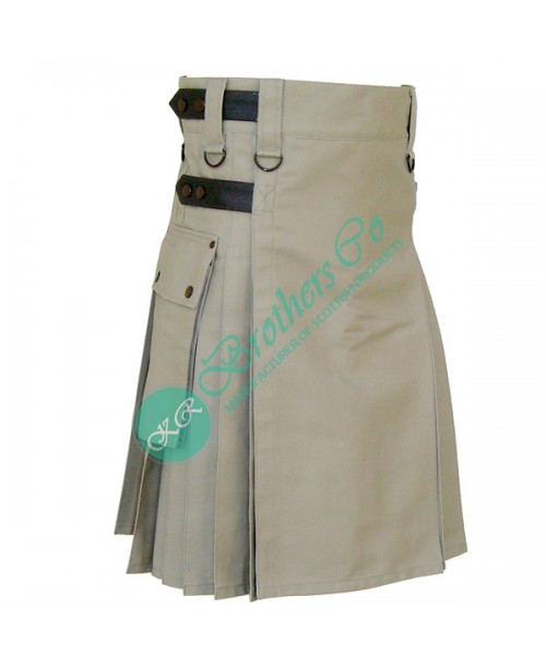 Khaki Adjustable Leather Straps Kilt