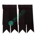 Black Plain Tartan Kilt Hose Socks Flashes