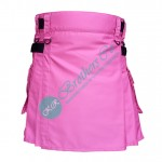 Ladies Pink Fashion Kilt with Adjustable Straps