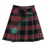 Ladies Scottish Black Stewart Tartan Kilt Skirt