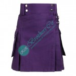 Ladies Purple Utility Kilt Skirt