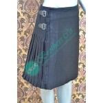 Men Black Plain Scottish Tartan Kilt