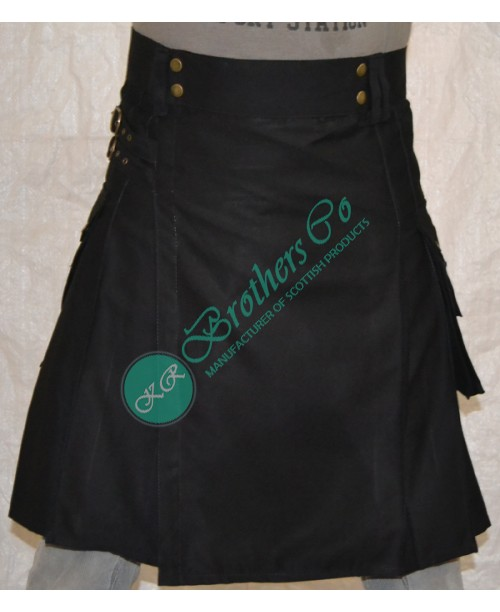Men Black Utility Work Kilt