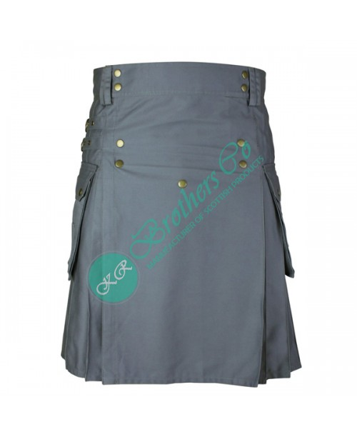 Men Grey Utility Fashion Kilt