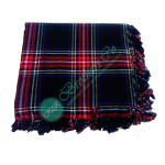 Scottish Black Stewart Tartan Bagpiper Kilt Fly Plaid