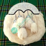 White Rabbit Fur Highland Kilt Sporran