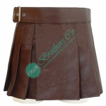 Brown leather kilt with adjustable belt