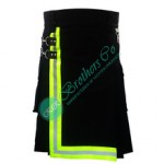 Fireman Firefighter Black Cotton Made Utility Kilt With Yellow Lime or Orange Reflective Trim