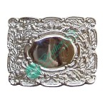 Oval Thistle Chrome Polished Kilt Belt Buckle