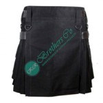 Ladies Women Girl Black Fashion Kilt with Adjustable Leather Straps