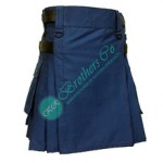 Ladies Women Girl Blue Fashion Kilt with Adjustable Leather Straps
