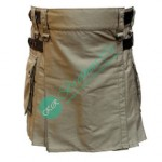 Ladies Women Girl Khaki Fashion Kilt with Adjustable Leather Straps