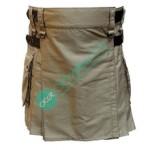 Ladies Women Girl Khaki Fashion Kilt with Adjustable Leather Straps