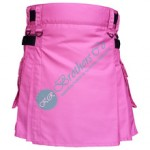 Ladies Women Girl Pink Fashion Kilt with Adjustable Leather Straps