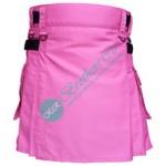 Ladies Women Girl Pink Fashion Kilt with Adjustable Leather Straps