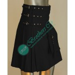 Latest Design Black Fancy Flutt leather kilt