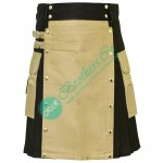 Latest Style Black Modern kilt with Khaki Apron