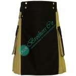 Latest Style Khaki Modern kilt with Black Apron