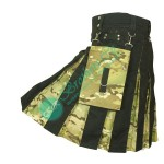 Men New Black Modern Kilt with Camo Box Pleats Hybrid Kilt