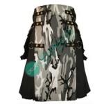 Men Black Cotton with Urban Camo Apron Prime Fashion Utility Kilt