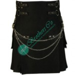 Men Black Modern Fashion Utility Kilt With Chain and Rings