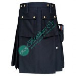 Men Black Policeman, Security Person, Military Officer Working Adventure Man Utility Kilt