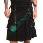 Men Black Zipper Gothic Steampunk Style Alternative Fashion Utility Kilt