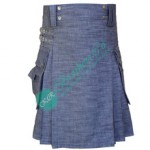 Men Blue Modern Working Casual Heavy Denim Party Wear Wedding Fashion Utility Kilt