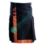 Men Bunker Gear Turnout FR Treated Fireman Firefighter Black Utility Kilt with Orange Lime Reflective Trim