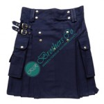 Men Navy Blue Handmade Casual Modern Prime Party Wear Utility Kilt