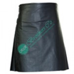 Men Traditional Scottish Design Genuine Black Leather Kilt