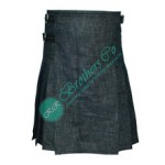 Men Traditional Scottish Tartan Design Black Denim Modern Highland Dress Kilt with 3 Leather Straps