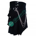 Men Modern Style Detachable kilt with Silver chains and D rings