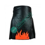 Fire Black Leather Kilt